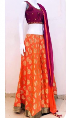 Orange Patterned Lehenga & Contrast Purple Blouse